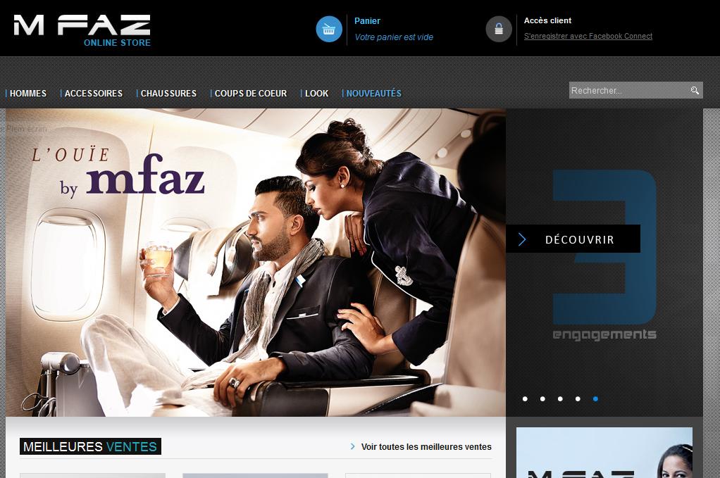 Page d'accueil boutique magento Mfaz